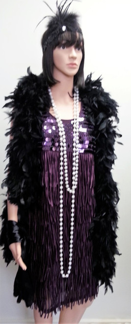 Purple sequinned and fringed flapper dress for hire