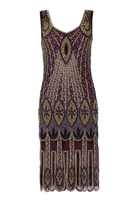 Plum Coloured Beaded 1920's Flapper Dress