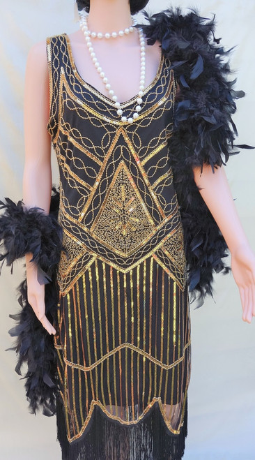 Black and Gold 1920's Flapper Dress for Hire