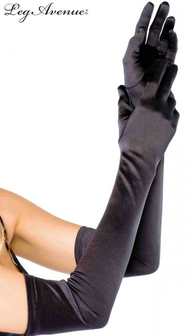 Leg Avenue Extra Long Satin Gloves - Black