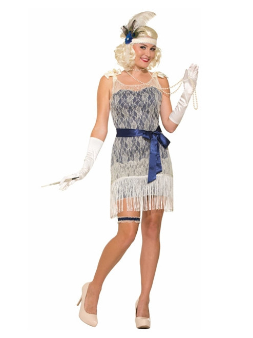 1920s Blue and Cream Flapper Dress