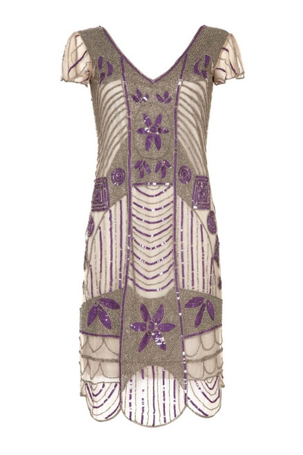 Beaded Gatsby Dress for Hire in Silver Grey with Purple.