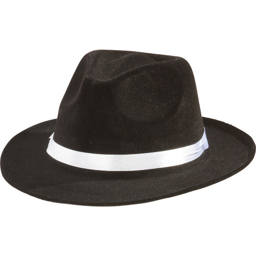Black Gangster Hat with White Band