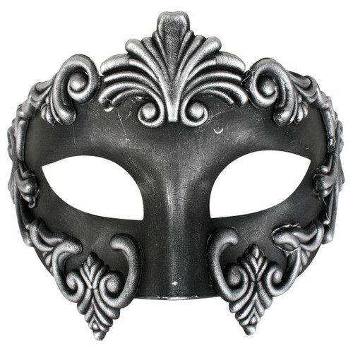 Black and Silver Venetian Masquerade Mask