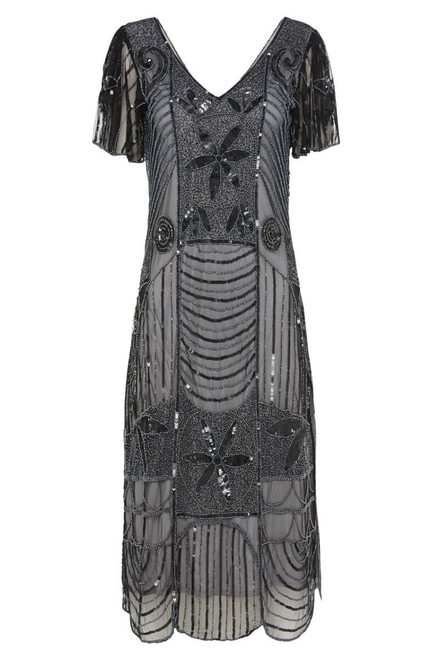 Silver Black Gatsby Dress for Hire - size 30