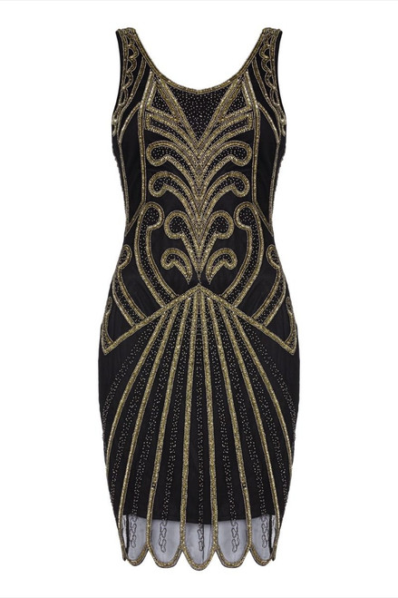 Black and Gold Flapper Dress for Hire - Size 18