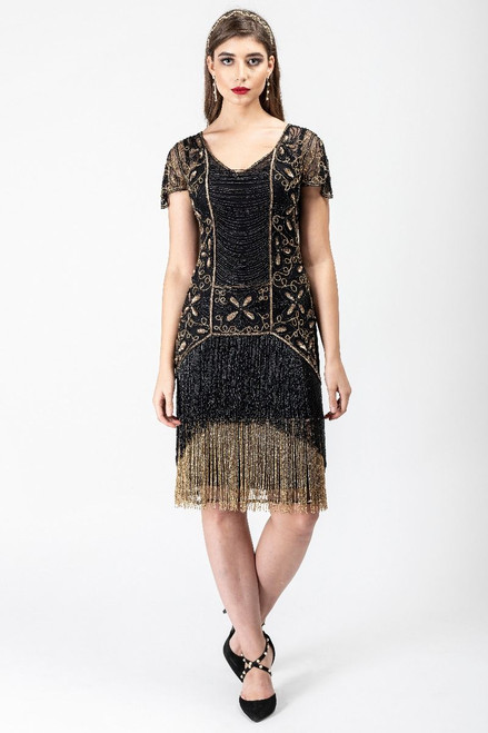 Gold and Black Premium Flapper Dress for Hire