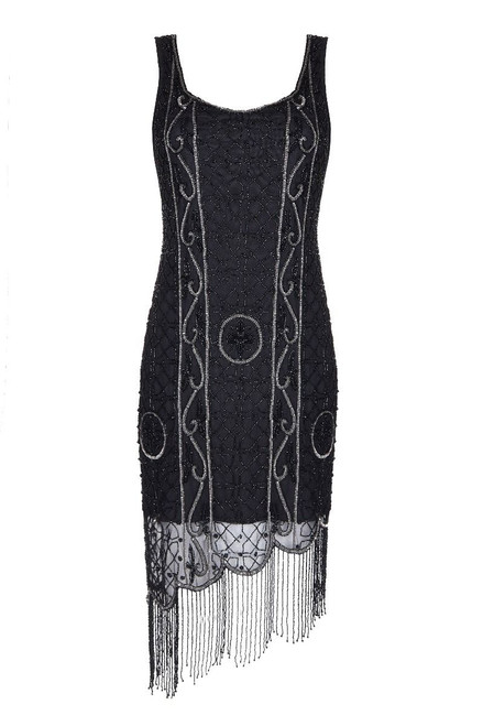 Beaded and Fringed Flapper Dress in Black and Silver for Hire- Size 14 -to16