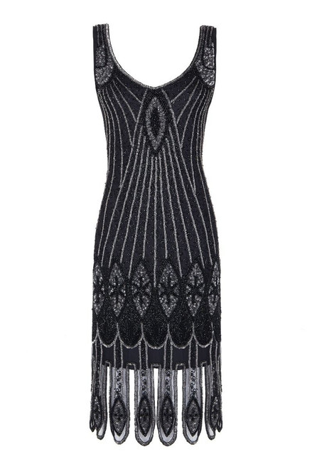 Black and Gold Heavily Beaded Flapper Dress for Hire. Size 14