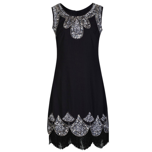 Black and Silver Flapper Dress for Hire