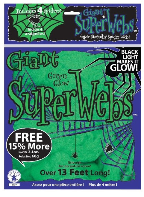 Green Glow in The Dark Spiderwebs with Spiders.