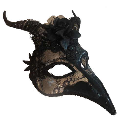 Black Masquerade Mask - Plague Doctor Nose -  Bird Beak - Horns - black lace