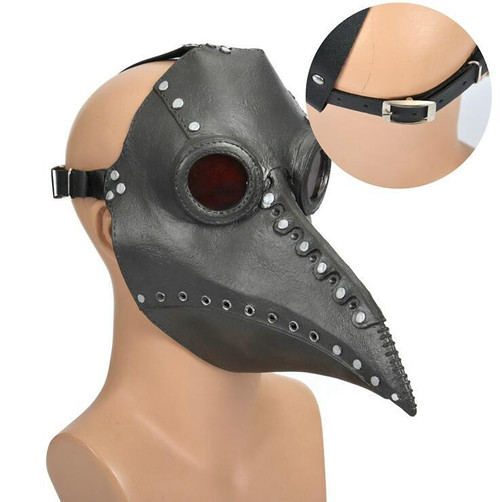 Plague Doctor Mask Full Face in rubberwith buckled straps