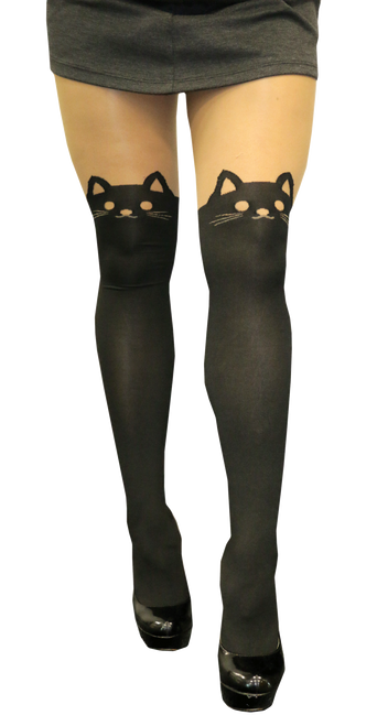 Cat face tights front view