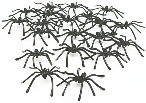 Black Plastic Spiders - Pack of 50