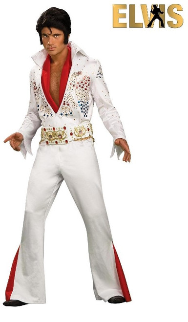 White Elvis Jumpsuit and Wig to Hire from The Littlest Costume Shop