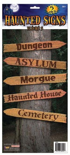 5 piece Haunted Halloween Signposts
