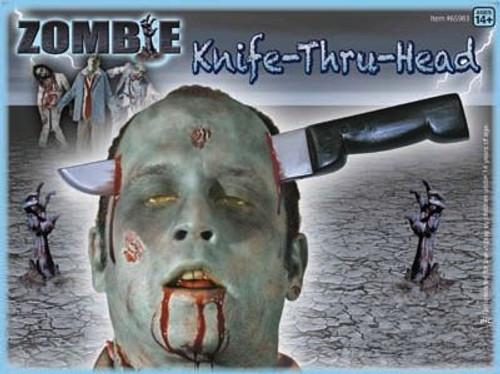 Fake Knife Through Head Halloween Accessory