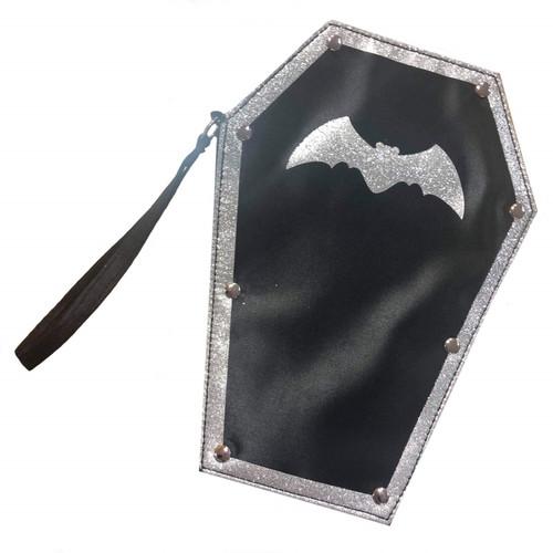 Coffin Handbag Purse in Black and Silver with Bat Motif