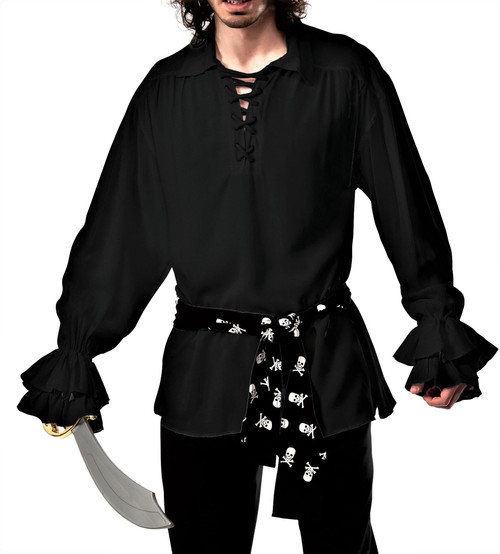 Black Pirate Shirt with a skull waist sash - The Littlest Costume Shop
