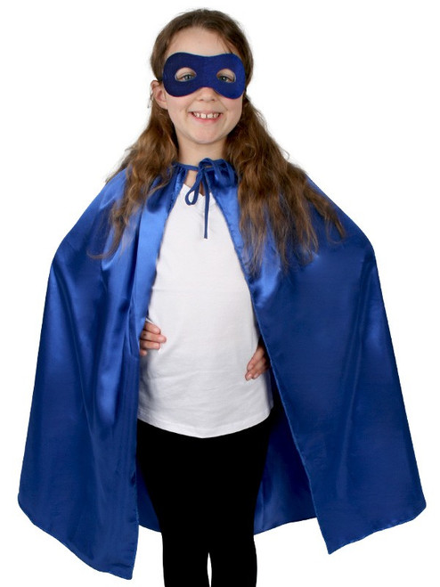 Children's Superhero Cape and Mask in Blue - The Littlest Costume Shop