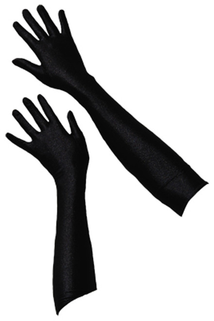 Long black satin evening gloves from The Littlest Costume Shop in Melbourne