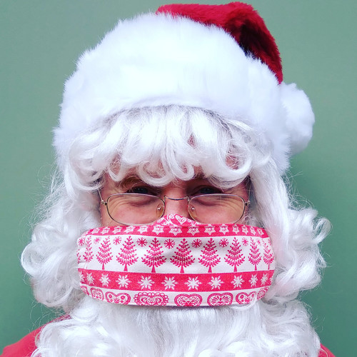 Christmas Design Reusable Fabric Facemasks for Santa to Wear from The Littlest Costume Shop in Melbourne