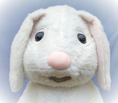 Mascot Large White Rabbit Head for Hire from The Littlest Costume Shop in Preston VIC