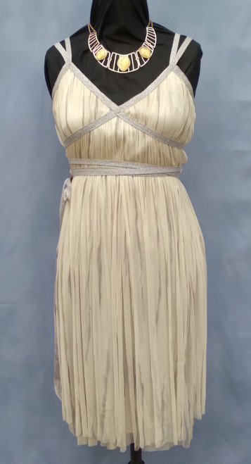 Antique Pleated Greek Goddess Costume in Cream and Silver - The Littlest Costume Shop in Melbourne