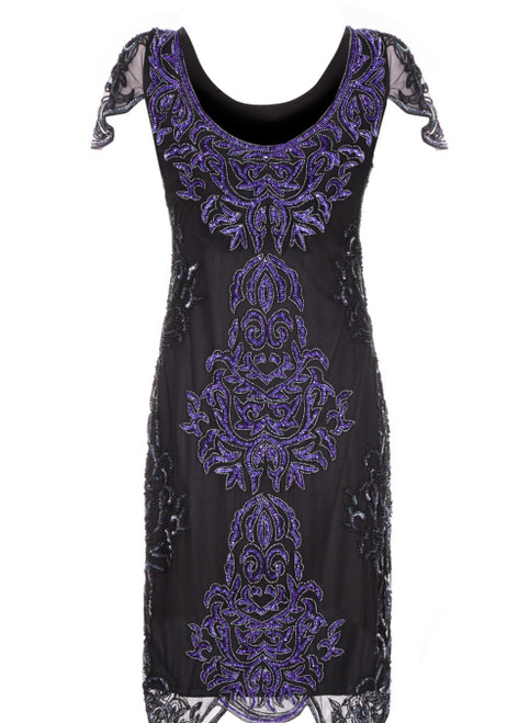 Beaded Purple and Black Flapper dress for Hire |  The Littlest Costume Shop in Melbourne