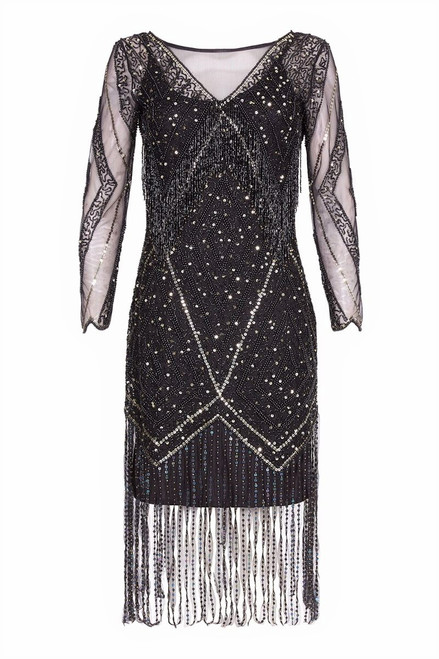 Beaded Black Flapper Dress with Long Sleeves for Hire from The Littlest Costume Shop in Melbourne