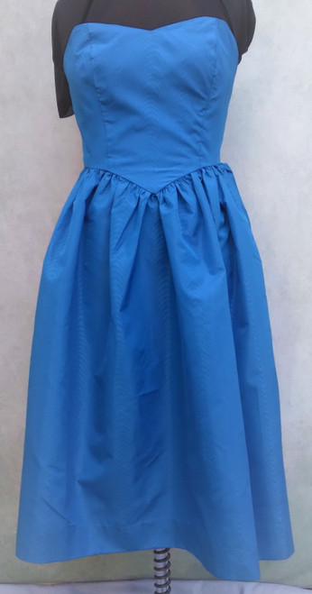 Blue Strapless 1980's Prom Dress - Size 8 for Hire from The Littlest Costume Shop in Melbourne