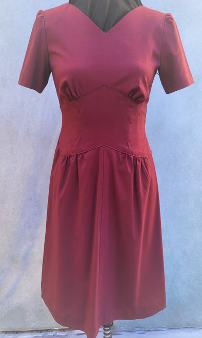 Maroon 1940's style dress for Hire - The Littlest Costume Shop in Melbourne