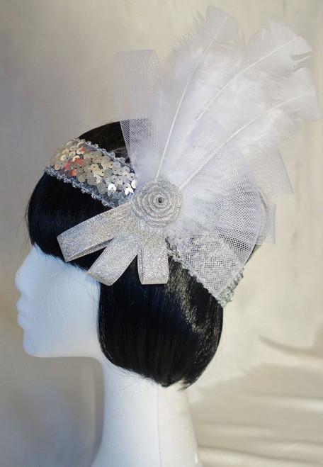 Shimmering White and Silver Rose 1920's headdress