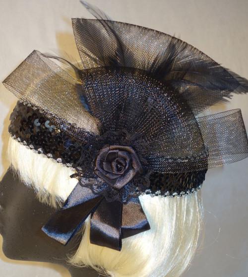 Black Tulle 1920's headdress