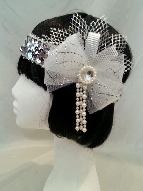 Silver pearl netting 1920's headdress