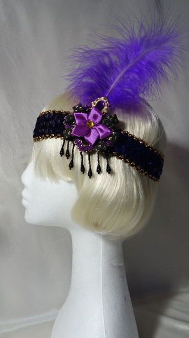 Purple jewelled feather 1920's headdress