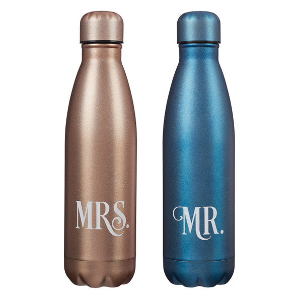 MR. AND MRS. SET OF TWO STAINLESS STEEL WATER BOTTLE SET
