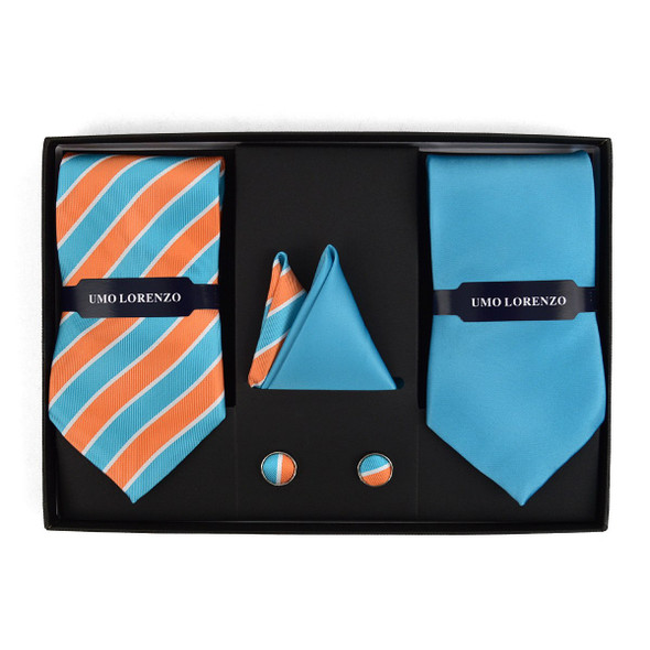 STRIPED & SOLID TIE WITH MATCHING HANKY AND CUFFLINKS