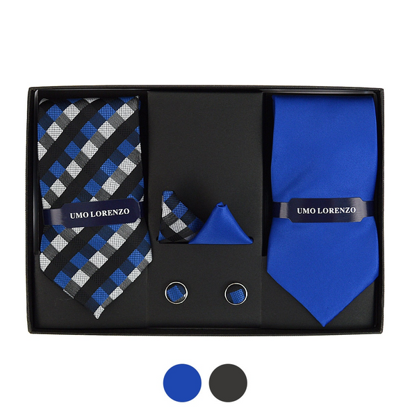 GEOMETRIC & SOLID TIE WITH MATCHING HANKY AND CUFFLINK