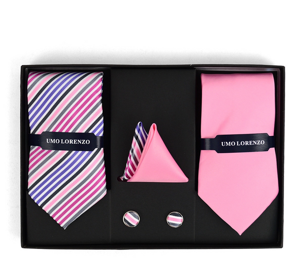 PINK STRIPED & SOLID TIE WITH MATCHING HANKY AND CUFFLINKS
