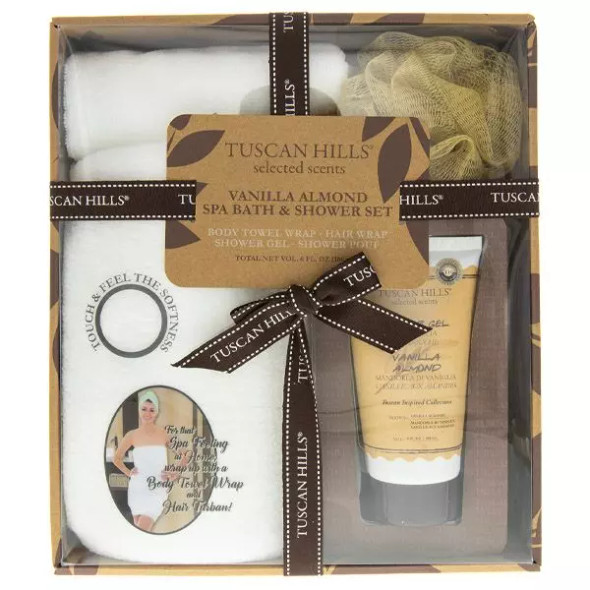 Pamper yourself with this 4-piece Spa Bath and Shower Set! Set includes a body towel wrap, hair turban, shower gel, and shower pouf. Beautifully boxed, this spa set makes a great gift.