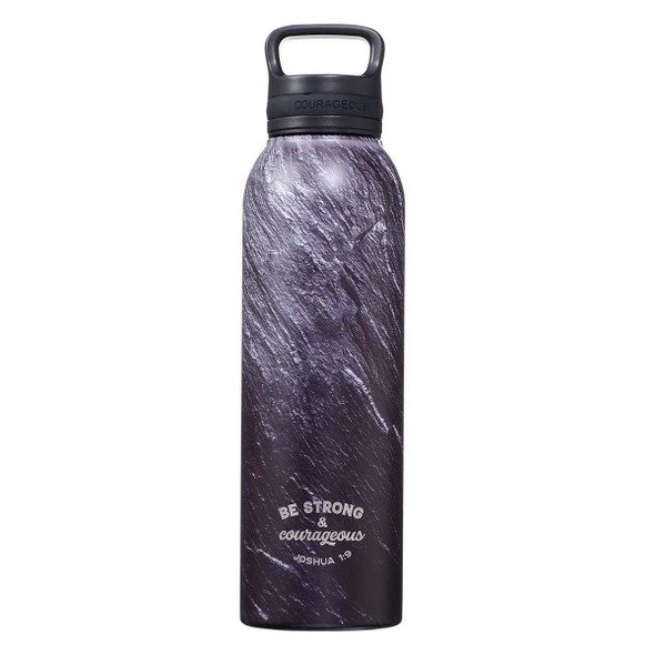 Strong & Courageous Black Stone Stainless Steel Water Bottle
