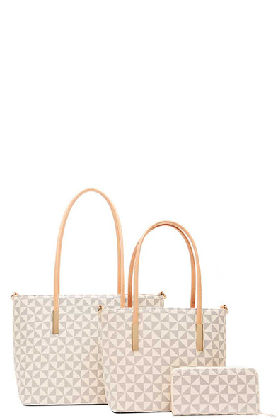 3 IN 1 FASHION SHOPPER WITH MATCHING BAG AND WALLET