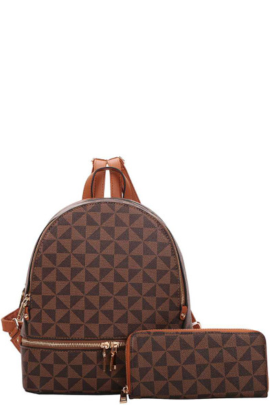 2IN1 SMOOTH CHECKER BACKPACK WALLET SET