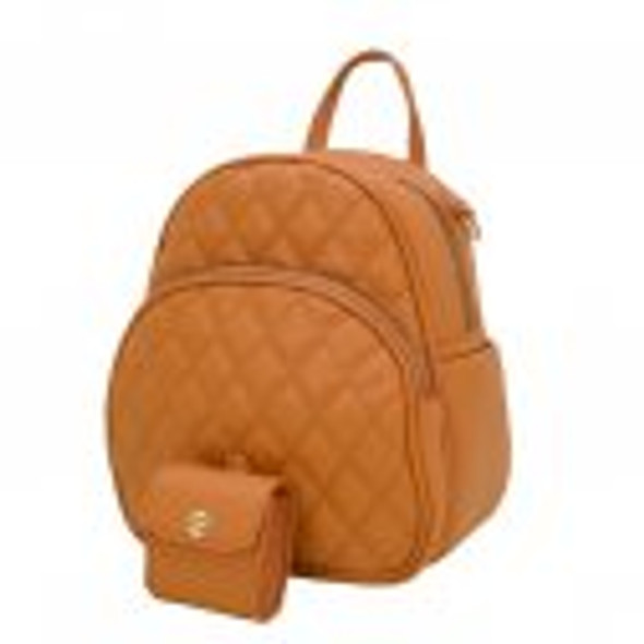 Quilted Small Fashion Backpack with Coin Wallet