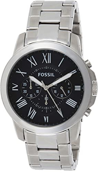 Fossil is inspired by American creativity and ingenuity. Bringing new life into the watch and leathers industry by making quality, fashionable accessories that are both fun and accessible. The Grant collection is always in style thanks to its time-honored design. This season we're updating it with modern roman numeral markers and materials like stainless steel and soft leathe . The result? A watch you'll wear for years to come. Case size: 44MM; Band size: 22MM; Quartz/Chrono movement; hardened minderal crystal lens; imported Attachment Material/Color: Stainless Steel/Silver; Closure type: Single Press Deployant; Interchangeable with all Fossil 22MM bands Water resistant to 165 feet (50 M): suitable for short periods of recreational swimming and showering, but not diving or snorkeling