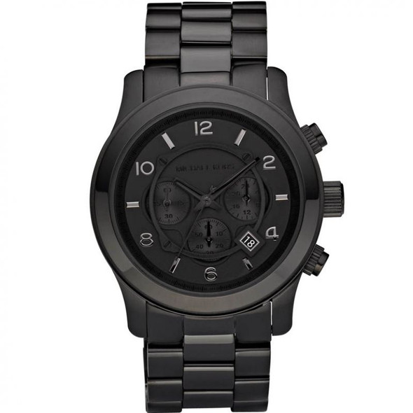 From popular brand Michael Kors comes the Chronograph Runway watch. Ultra-cool with a touch of class, this watch embodies high-fashion with its monochrome colour scheme and sleek detailing.  Made from black ion-plated steel. The round black dial features date function, chronograph, easy to see silver numeral and baton hour markers, black hands and chunky side-button detail. It fastens on a sleek black metal bracelet and powered by a quality quartz movement. Quartz movement for ultimate time precision Bracelet strap for great security Chronograph functionality so doubles as a stop watch Date window so you always have the date right at your wrist