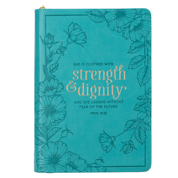 JL525 Journal Zip She Is Clothed In Strength Prov. 31:25
