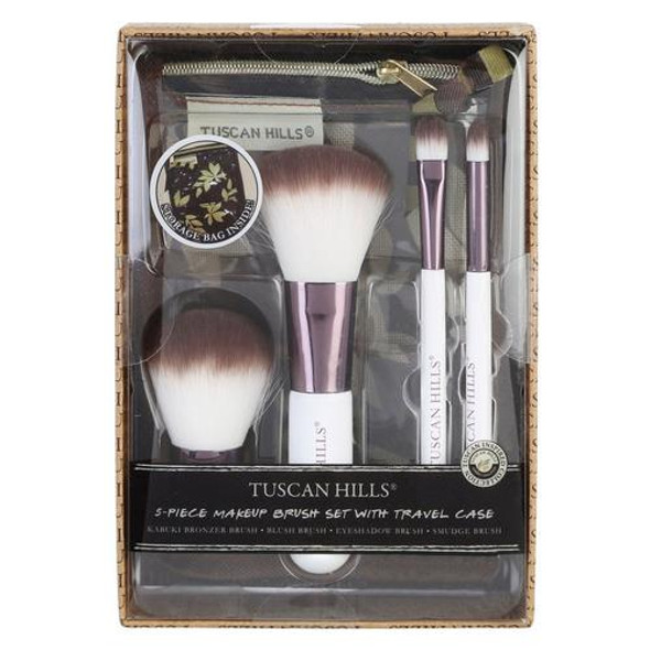 5 PC MAKEUP BRUSH SET WITH TRAVEL CASE